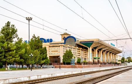 uzbek: Samarkand, Uzbekistan - August 14, 2016: View of Samarkand Railway Station. The Tashkent - Samarkand high-speed line is capable of speeds up to 250 km-h