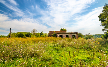 Abandoned rural House of Culture in Kursk region of Russia Stock Photo