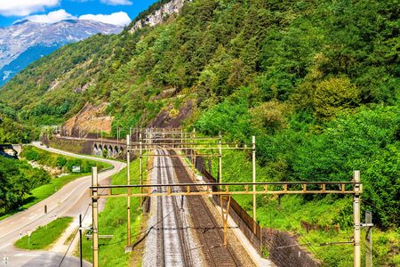 View of the Gotthard railway in the Swiss Alps