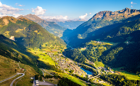 stone road: View of Airolo village from the Gotthard Pass - Switzerland