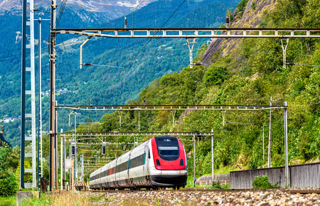Tilting high-speed train on the Gotthard railway. The traffic will be diverted to the Gotthard Base Tunnel in December 2016.
