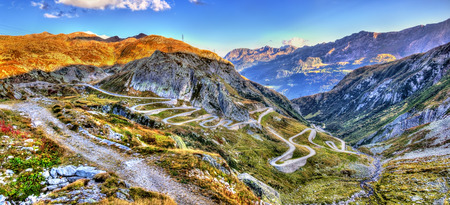 Serpentine road leading to the St. Gotthard pass in the Swiss Alps