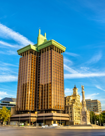 Columbus Towers or Torres de Colon, a highrise building in Madrid - Spain
