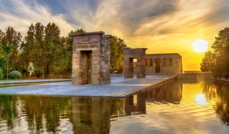 Sunset over the The Temple of Debod in Madrid - Spain Stock fotó