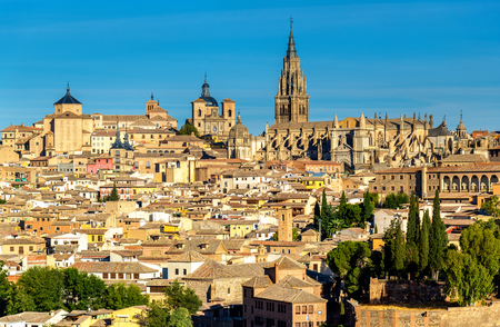 marcos: View of Toledo with the Cathedral and the Churches of San Ildefonso and San Marcos - Spain Stock Photo