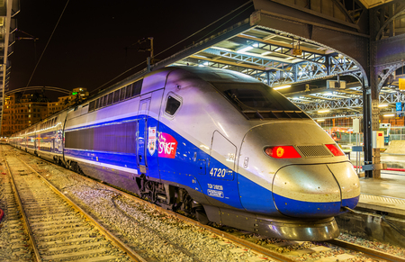 Paris, France - October 9, 2016: TGV Euroduplex trainset at Paris-Est railway station. Paris-Est station provides connections to Germany, Luxembourg, Russia and the East of France Editorial