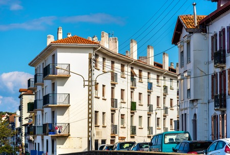 basque country: Buildings in Hendaye, a French city on the border with Spain. Stock Photo