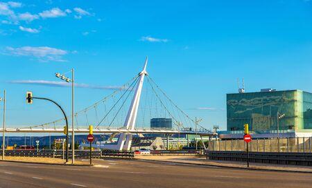 pedestrian bridge: Suspension pedestrian bridge at Zaragoza-Delicias station, Spain