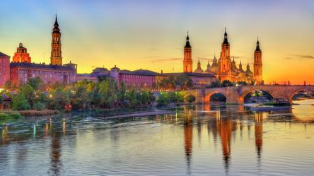 ebro: Basilica of Our Lady of the Pillar and the Ebro River - Zaragoza, Spain