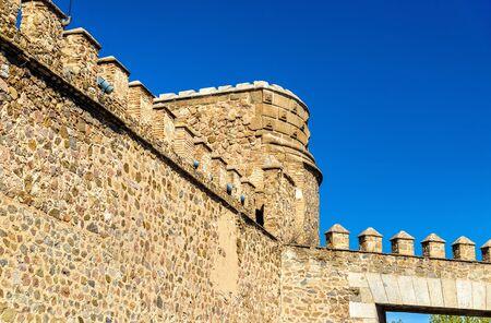 mancha: Details of Puerta de Bisagra Nueva Gate in Toledo - Spain