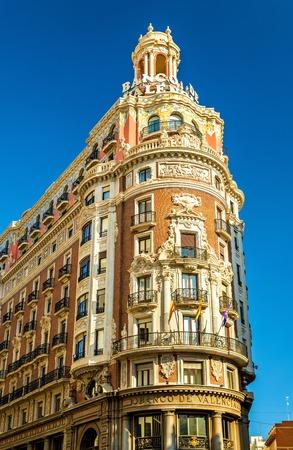 Valencia, Spain - October 29, 2016: The Bank of Valencia, a historic building built in 1942 Editorial