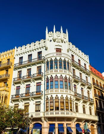 Beautiful buildings in the old town of Valencia in Spain