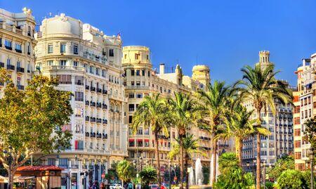 modernisme: View of the Plaza del Ayuntamiento or the Modernisme Plaza of the City Hall of Valencia
