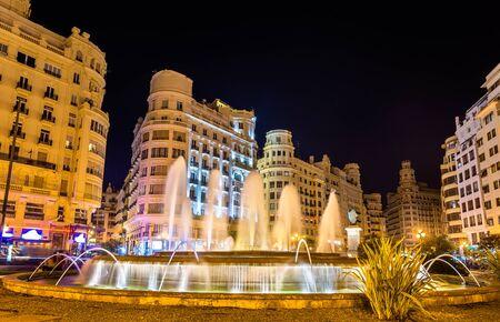 modernisme: Fountain on the Plaza del Ayuntamiento or the Modernisme Plaza of the City Hall of Valencia