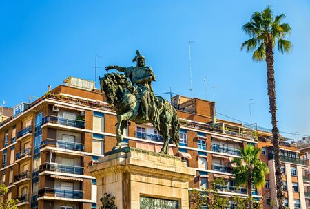 Monument to Jaime el Conquistador in Jardines del Parterre in Valencia - Spain