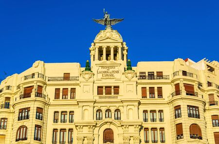 Ancient building at the crossroad of Carrer de Xativa and avenue Marques de Sotelo in Valencia - Spain Stock Photo