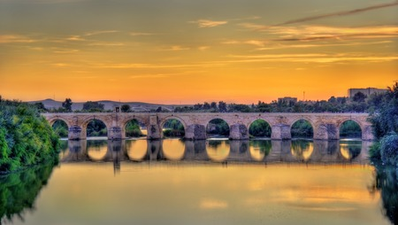 The Roman Bridge across the Guadalquivir river in Cordoba, Spain