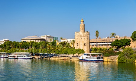 View of the Torre del Oro, a tower in Seville - Spain, Andalusia