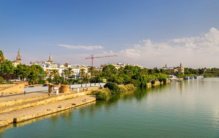 Guadalquivir river embankment in Seville - Spain, Andalusia