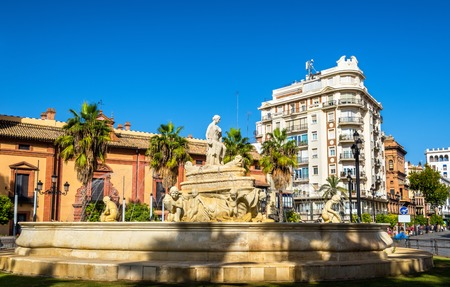 Hispalis Fountain on Puerta de Jerez Square in Seville - Spain, Andalusia
