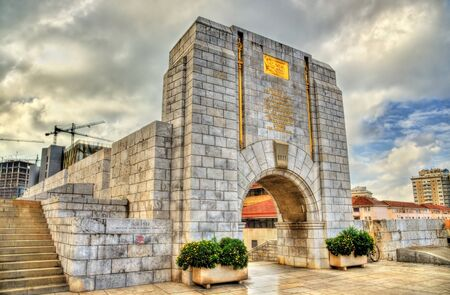The American War Memorial in Gibraltar. Built in 1933 and incorporated into the main city wall. Stock Photo