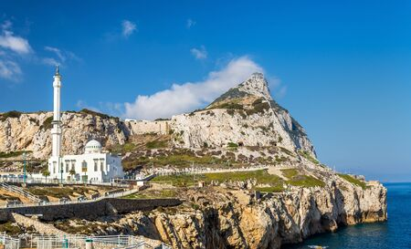 Rock of Gibraltar and Mosque seen from Europa Point in Gibraltar, a British overseas territory Stock Photo