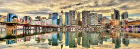 Skyline of Sydney at Cockle Bay - Australia Stock Photo