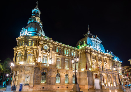 Palacio consistorial, el ayuntamiento de Cartagena, España Foto de archivo