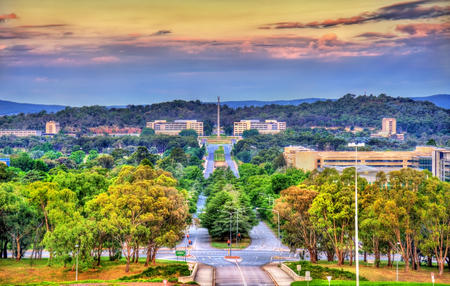 View along Kings Avenue towards the Australian-American Memorial in Canberra, Australia Stock Photo