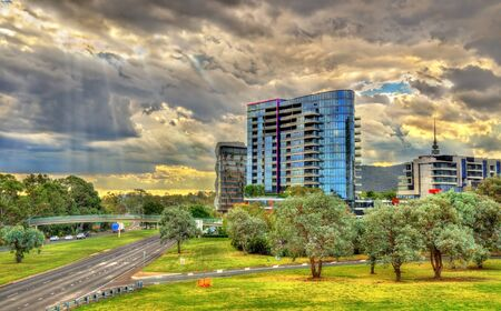 Buildings at Parkes Way road in Canberra, Australia 写真素材