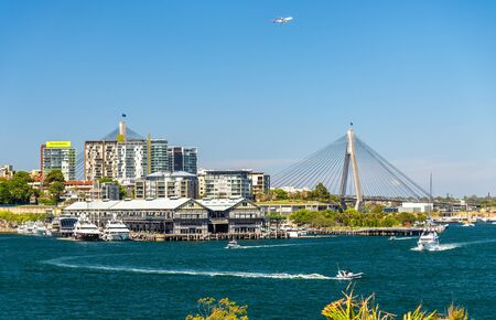 anzac bridge: View of Pyrmont district and the Anzac Bridge in Sydney Stock Photo