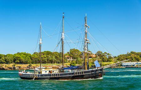 navy pier: Vintage windjammer in Sydney Harbour, Australia
