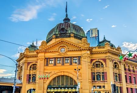 Flinders Street Station, un edificio icónico de Melbourne, Australia Foto de archivo