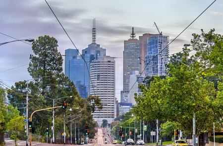 victoria park: Skyscrapers of Melbourne CBD in Australia