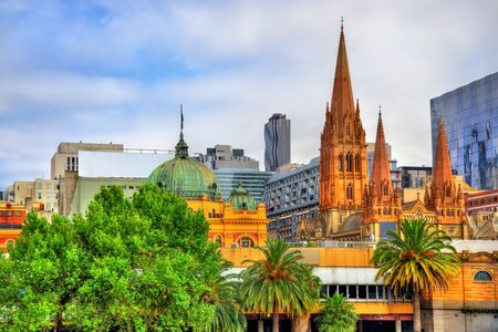 Flinders Street Station and St Pauls Cathedral in Melbourne