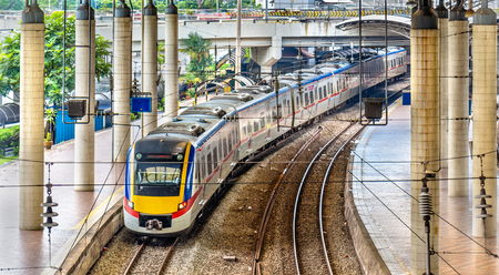 Commuter train at Kuala Lumpur station, Malaysia Reklamní fotografie