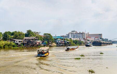Boats on the Pa Sak River in Ayutthaya, Thailand