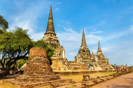 Wat Phra Si Sanphet temple in the Ayutthaya Historical Park. Stock Photo