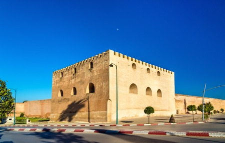 Fortification walls at Bab Belkari in Meknes, Morocco