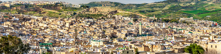 fes: Panorama of Old Medina in Fes, Morocco, Africa