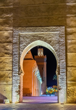 Moulay El Yazid Mosque seen through a gate in Marrakesh, Morocco