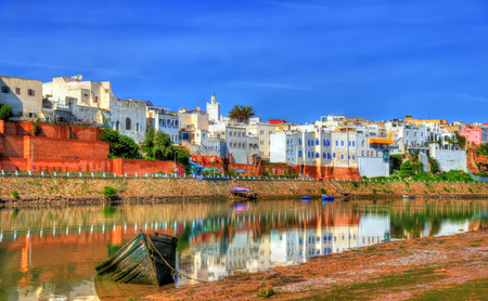 Cityscape of Azemmour on the bank of Oum Er-Rbia River in Morocco Stock Photo