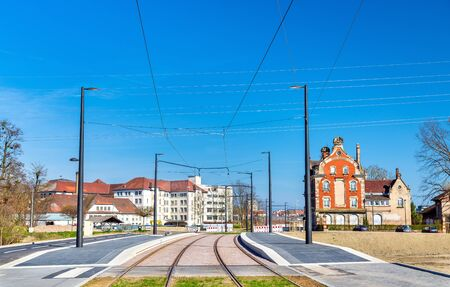 streetcar: New tram line Strasbourg - Kehl to connect France and Germany. A stop on the French side Stock Photo