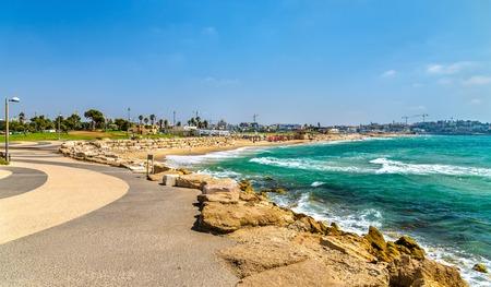 View of the Mediterranean waterfront in Tel Aviv