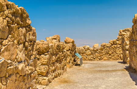 judaean desert: View on ruins of Masada fortress - Judaean Desert, Israel