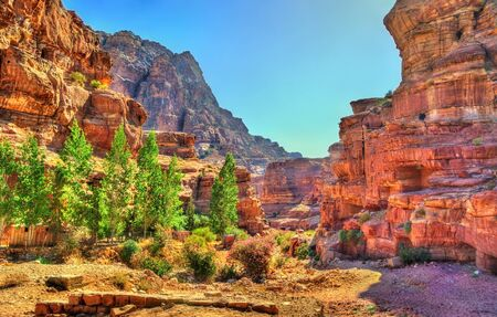 Wadi Jeihoon, the path to the Monastery El Deir in Petra Stock Photo