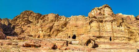 khazneh: View of ancient tombs at Petra