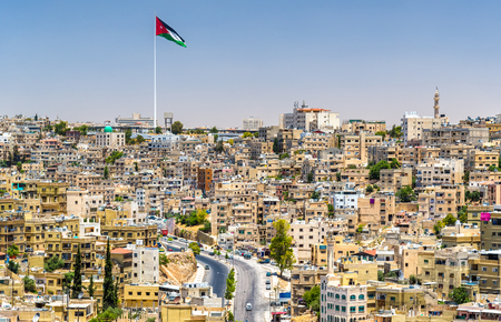 Cityscape of Amman downtown from the Citadel Stok Fotoğraf