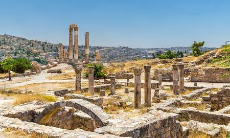 Ruins of the Byzantine Church at Amman Citadel Banco de Imagens