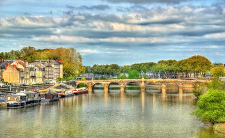 the loire: Pont de Verdun, a bridge across the Maine in Angers, France Stock Photo